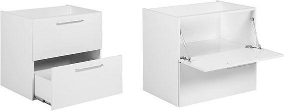 A versatilidade do gaveteiro com porta basculante Dominó divide espaço com a resistência do nicho e gaveta: ambos suportam até 15kg de carga máxima