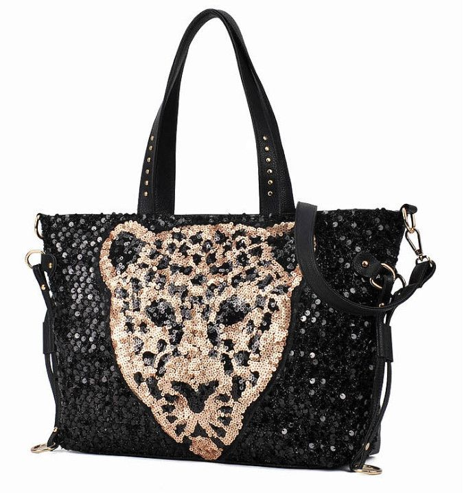 Promotions ! 2014 new fashion leather with leather motorcycle sequined leopard head pattern handbags , shoulder diagonal package $23.51