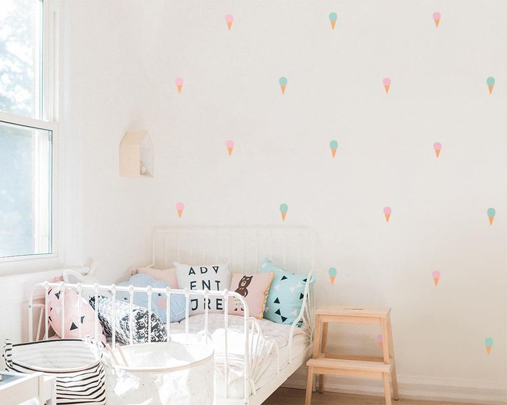 Dramatically convert the look of your living space with these adorable 3 color Ice Cream Cone wall decals, giving your walls the look of a custom paint job without any of the hassle! :)  ============= ITEM DETAILS =============  • Ice cream cone decals measure 1.75 wide, by 3.5 - 4 tall  • Each individual decal can be placed however you want! • You will receive 16 ...