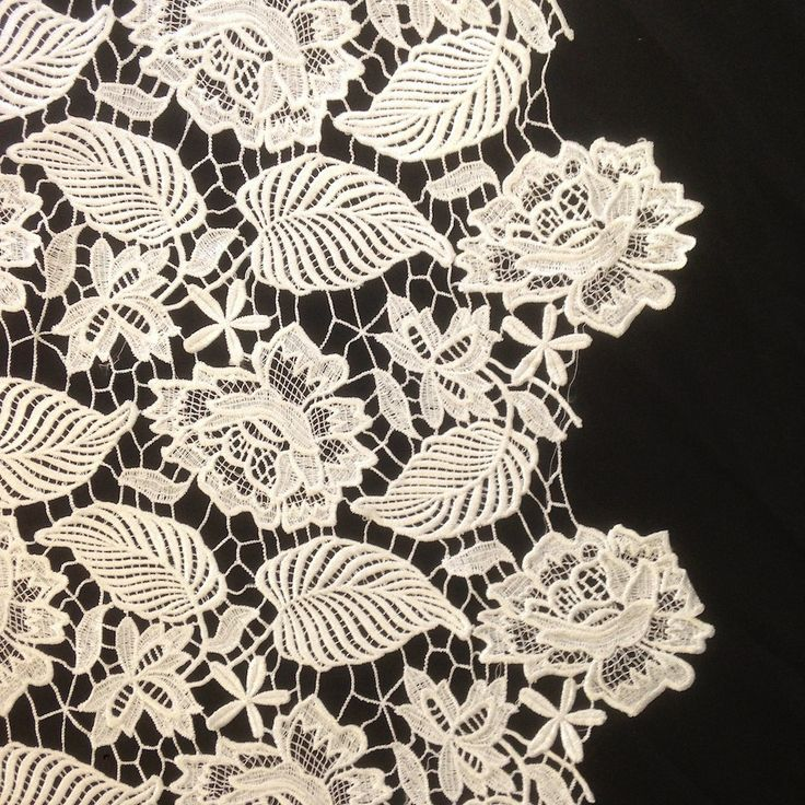 The leaf inspired design of our Guipure French Venice Lace is 52/53'' inches wide and 100% polyester. This fabric is available in several colors and sold by the yard. This wonderful lace is perfect fo
