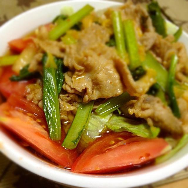 作ってみたけど、どうかな、美味しいかな… - 12件のもぐもぐ - サラダ焼肉うどん by yusukes
