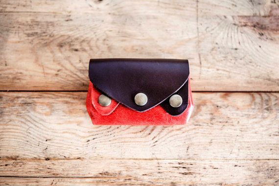 RED Leather PURSE // Small leather wallet // Color Leather bag