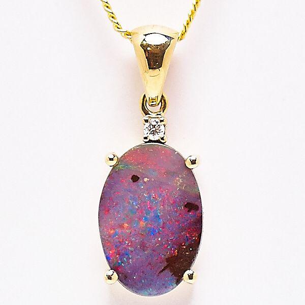 14ct Yellow Gold Queensland Boulder Opal Pendant set with a diamond. #fremantleopals #boulderopal #opal #gold