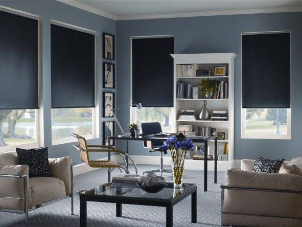 Interior Design Black Roller Shades Blackout Blinds Modern Grey Office Room Stainless Steel Chair Frames Wooden Glass Top Table Decorative Blue