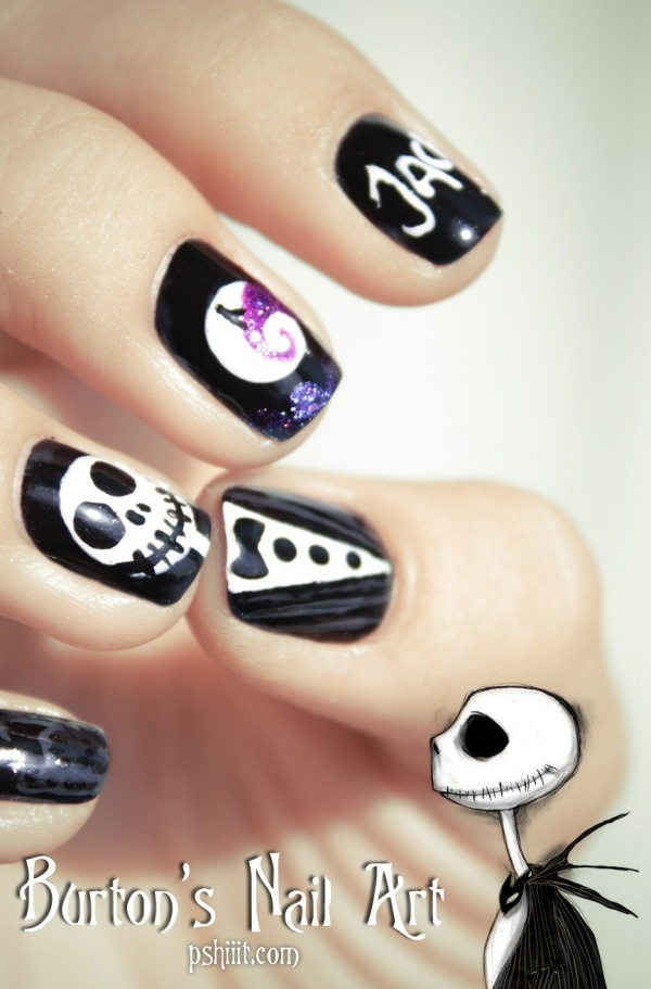 Tim Burton   Nail art inspiration: Nails Art, Fashion Ideas, Burton Nails, Art Inspiration, Christmas Nails, Tim Burton, Nightmare Before Christmas, Jack Skellington, Halloween Nails