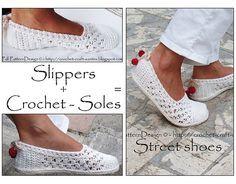 Ravelry: Paquete para suelas de ganchillo / único tratamiento / zapatillas - zapatillas Casa vuelta en calle zapatos patrón por Ingunn Santini❤️