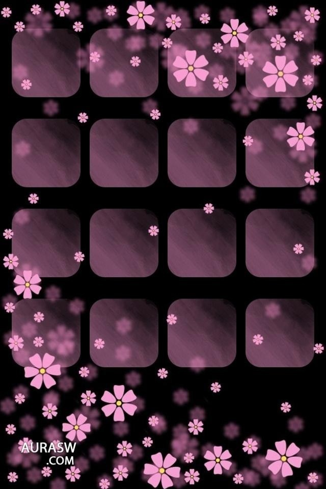 Pretty purple flowers on an iphone home screen wallpaper for Change background wallpaper your home screen