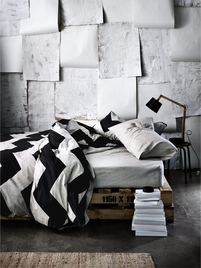 AURA Chevron Grande Linen in Black, available at Forty Winks