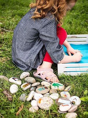 """Story Stones turned into colorful characters and props make intriguing storytelling tools -- especially when they're part of thematic sets (such as """"picnic,"""" """"carnival,"""" or """"school time""""). But beware: once your children start a collection, they won't want to stop adding to it."""