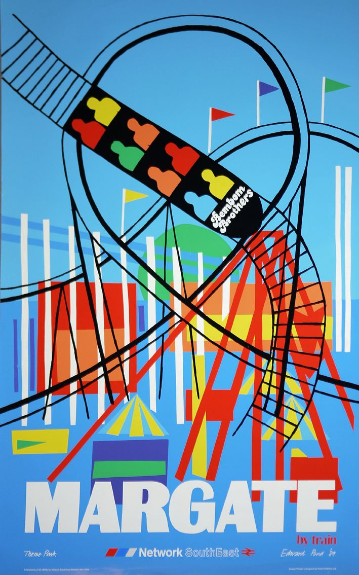 """""""Margate By Train"""" poster by Edward Pond for Network South East"""