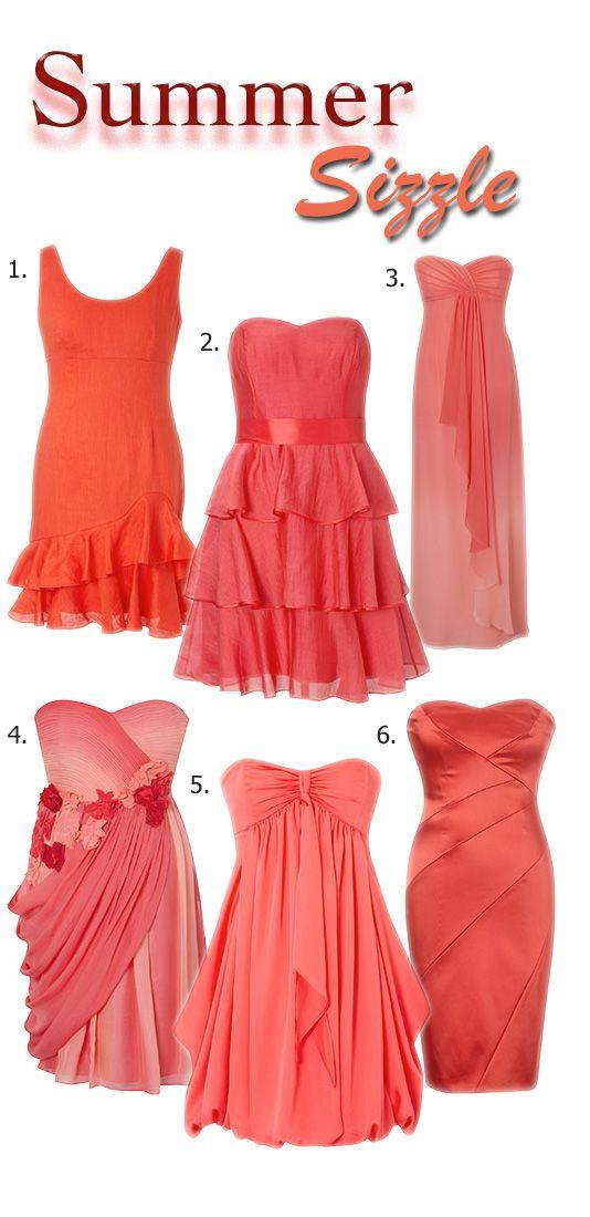 Orange And Coral Bridesmaid dress