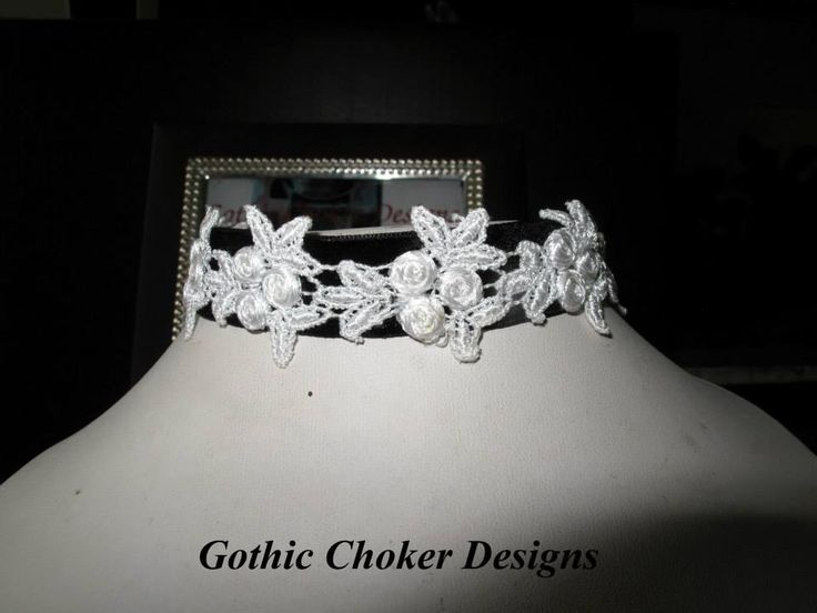 Such a variety of chokers available, this one is a vintage Goth Lolita inspired.  https://hellopretty.co.za/gothic-choker-designs/black-and-white-vintage-style-lace-choker