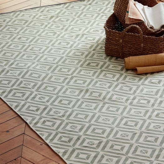 Square Tile Block-Printed Cotton Dhurrie | west elm