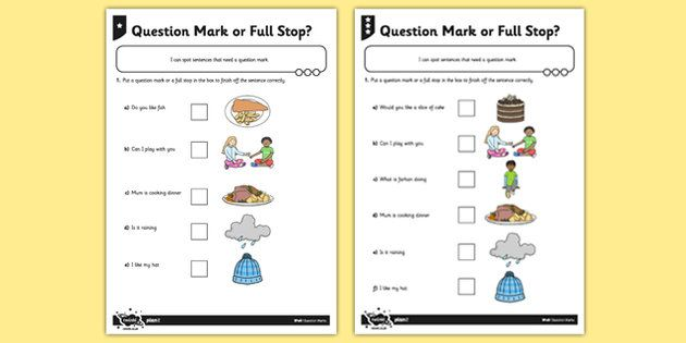 Question Mark or Full Stop? Differentiated Activity Sheet - GPS, punctuation, sentence, SPaG