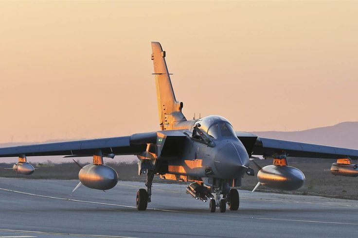An RAF Tornado is pictured arriving back at RAF Akrotiri in Cyprus yesterday after flying over Iraq.