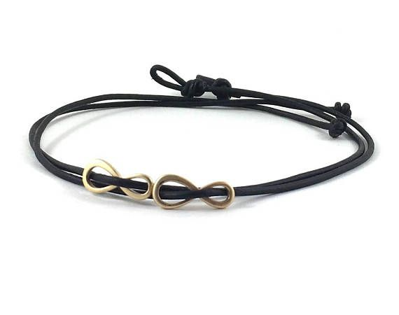 Gift Set of Two Gold Infinity Eight Charm Leather Bracelets, Choker Necklace, Gift for Couples Bridal Shower Party Favors, Bridesmaids Bride