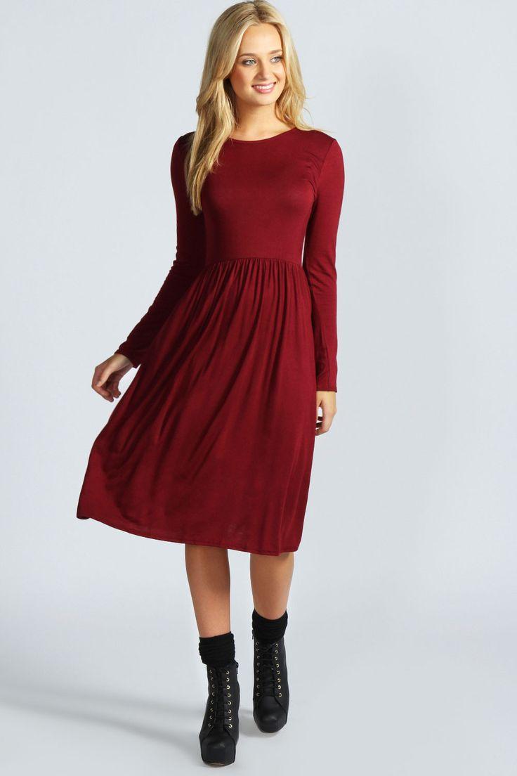 Mia Long Sleeve Midi Dress at boohoo.com