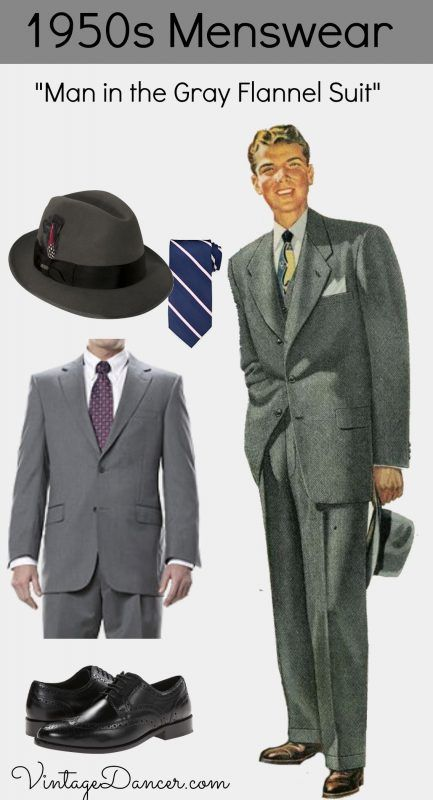 1950s Conservative Menswear Gray Flannel Suit Get The Look At VintageDancer