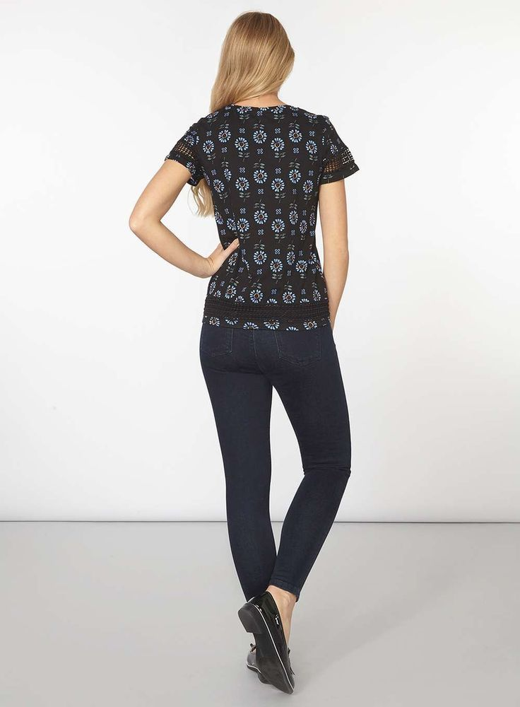 Womens Black floral lace insert Tee- Black