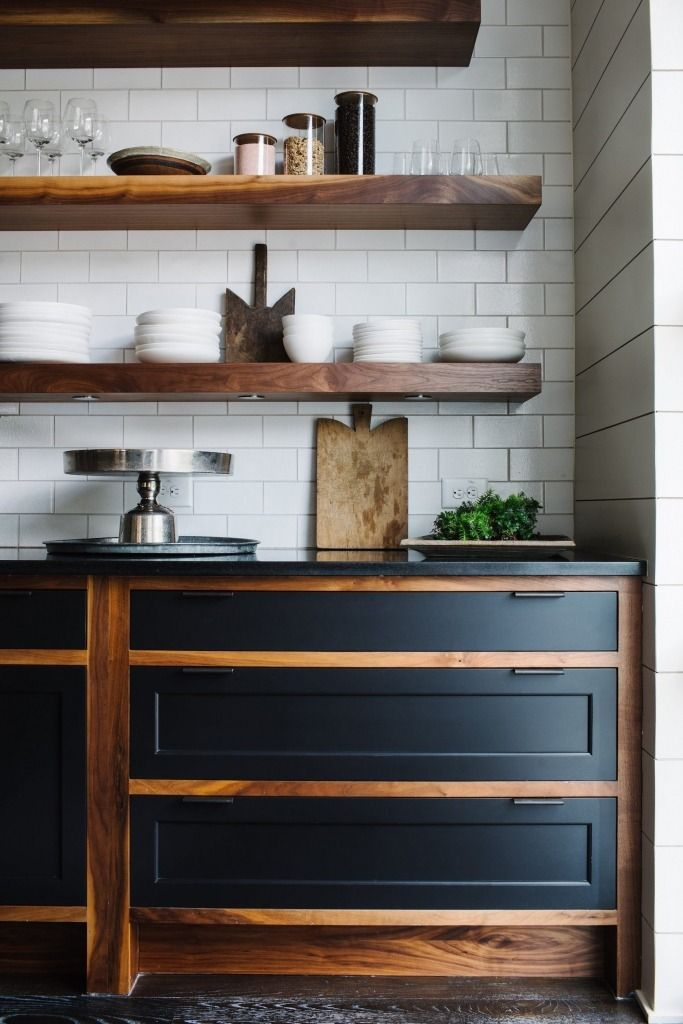 Floating Shelves Made Of Solid Walnut Hang Over Custom Oiled Cabinets With Painted Maple Fronts And Steel Handles