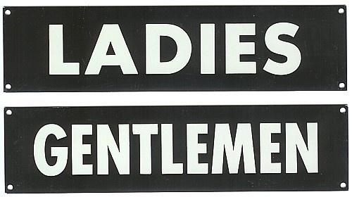 2 Original Vintage Aluminum Bathroom Restroom Signs Ladies Gentleman 1950s Vintage Signs And