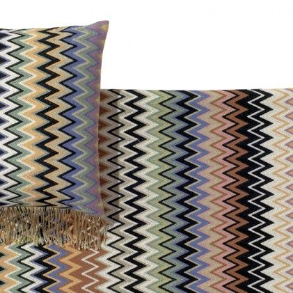 Beautiful plaid Margot 140 by fashion house Missoni of Italy. The plaid features the well-known Missoni zigzag pattern in bright colours.