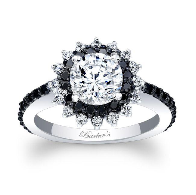 Barkev S Black Diamond Halo Engagement Ring 7969lb Black Diamond Ring Engagement Black Diamond Engagement Ring Halo Diamond Engagement Rings