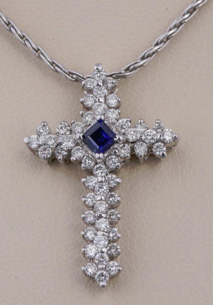 14K WHITE GOLD BLUE SAPPHIRE DIAMOND CROSS PENDANT NECKLACE RELIGIOUS JEWELRY #Pendant
