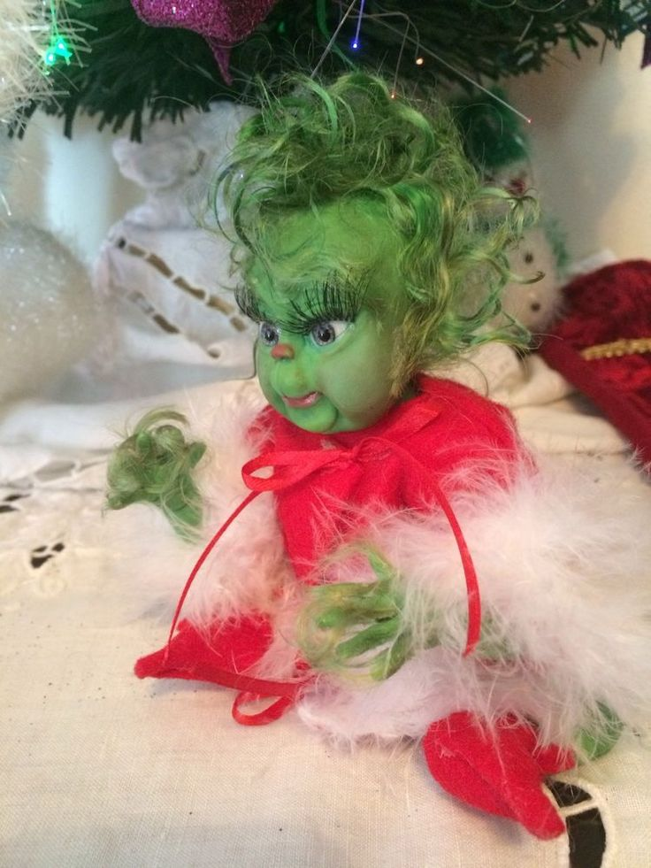 Ooak 7 Quot Polymer Clay Miniature Doll House Baby Grinch By