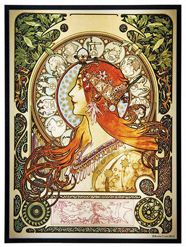 Stained glass replica of Mucha's art nouveau illustration. The personification of the Zodiac seated in a side portrait with lowing red orange long hair, a beautiful dress, and surrounded by an ornate