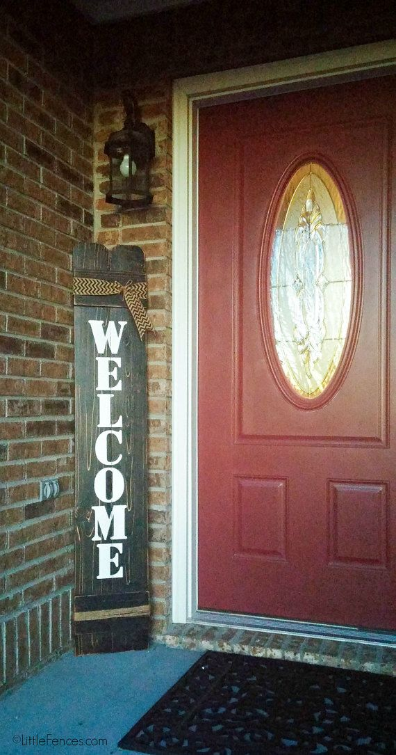Vertical Welcome Sign Outdoor Wood Welcome Sign by LittleFences