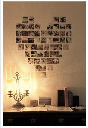 Foto's in de vorm van een hart op de muur plakken