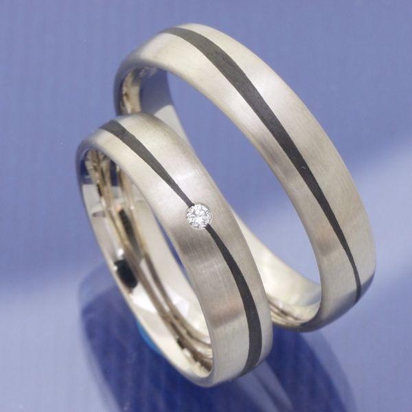 Hochzeitsringe Weissgold Carbon P7074043