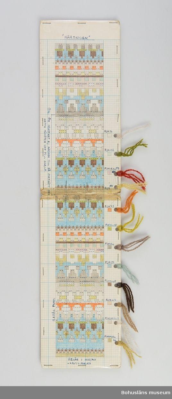 Avlång, dubbelvikt handtillverkad mönsterritning för mönstret Härskogen av Anna-Lisa Mannheimer Lunn från Bohus Stickning. Mönstret är uppritat i bläck och färglagd med pastell- eller vaxkrita på blårutat millimeterpapper, uppklistrat på linneväv och därefter pappkartong. Mönstret skyddas av ett plastskikt fästat med häftklamrar. Utmed högersidan hål gjorda med hålslag med mönstrets olika garner fästade med uppgift om kvalitet/sort och färgnummer.