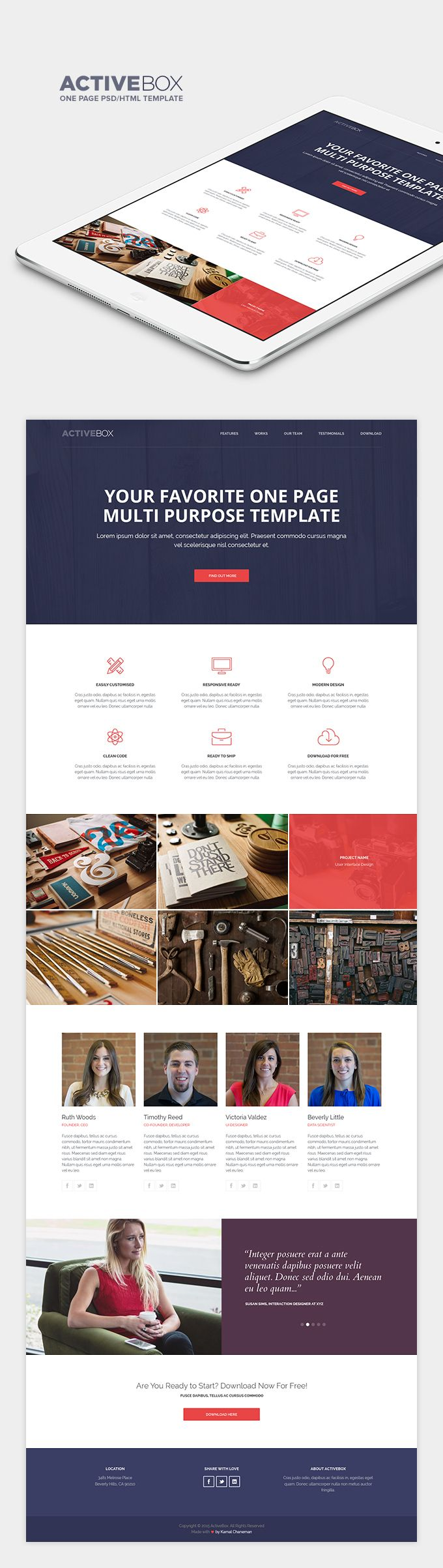 A very clean multi-purpose responsive one-page HTML template made by Kamal Chaneman for PixelBuddha.
