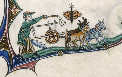Gorleston Psalter, 14th century, f. 153v: detail of a marginal scene of a man plowing with oxen, with a butterfly above
