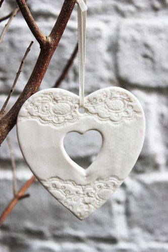 White cut out heart Christmas decoration - £6.00 : Amanda Mercer, Ceramic Design and Loveliness