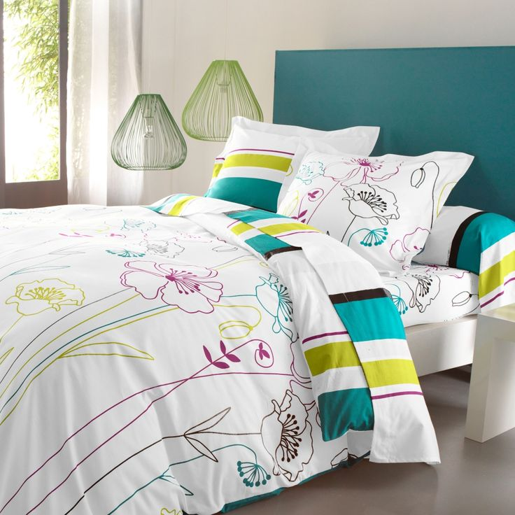 linge de lit prairie colombine coton linge de maison collection 2013 blancheporte. Black Bedroom Furniture Sets. Home Design Ideas