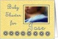 Baby Shower Invitation for Jose - Sleeping Child with Blue Blanket Card by Greeting Card Universe. $3.00. 5 x 7 inch premium quality folded paper greeting card. Greeting Card Universe offers the largest selection of Baby Shower invitations on the web. Show your loved ones you care with a custom invitation to celebrate your event. Let Greeting Card Universe help you find the best Baby Shower invitation this year. This paper card includes the following themes: baby shower...