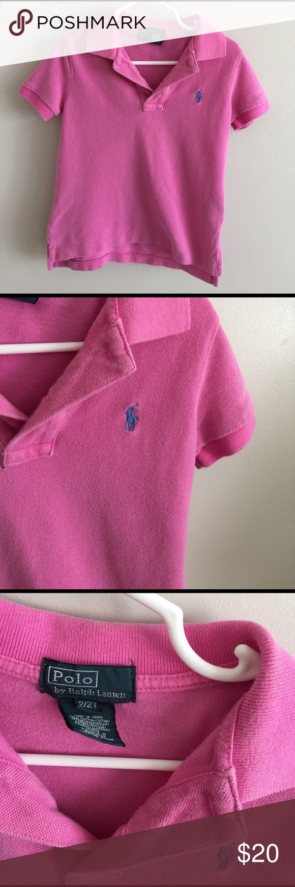 Pink polo shirt 2T Preowned please see pictures Polo by Ralph Lauren Shirts & Tops Polos
