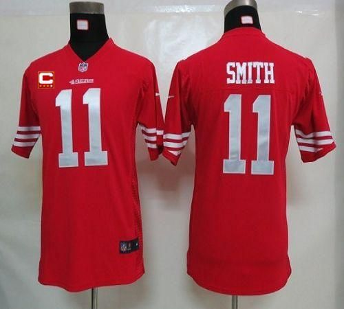 ... Nike 49ers 11 Alex Smith Red Team Color With C Patch Youth Embroidered  NFL Elite ... d3a4297ce
