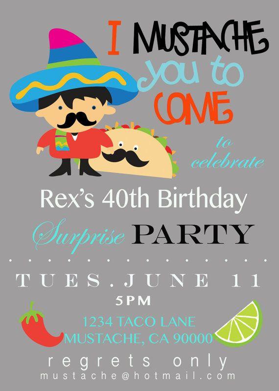 Mustache Taco Party Invitation  by DesignDivaInvitation on Etsy, $15.00