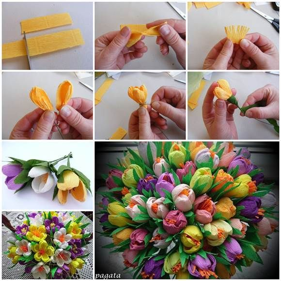 DIY Beautiful Bouquet of Crepe Paper Crocuses 3