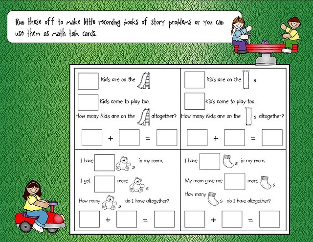 addition/subtraction problems - add your own numbers... great for differentiated learning. use bigger numbers for your more advanced students :)