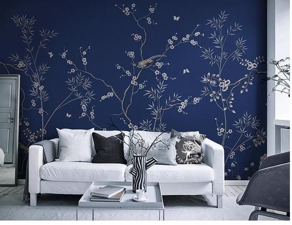 This Dark Navy Birds Flowers Wallpaper Wall Mural Flowers And Birds Cheery Blossom Tree Wallpaper Abstract Chee Wall Wallpaper Tree Wall Decor Tree Wallpaper