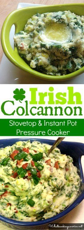 Traditional Irish mashed potatoes with kale and leeks. Stovetop & Instant Pot Pressure Cooker Instructions  |  #colcannon #irish #mashed #potatoes #kale #saintpatricksday #stpatricksday #instantpot #pressurecooker