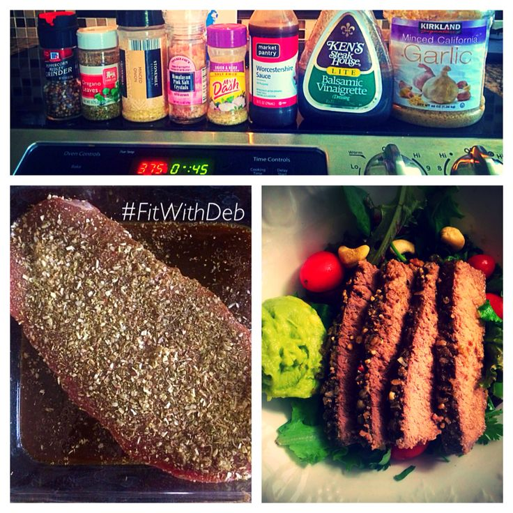 London Broil!  I baked it in the oven at 375 for 45 minutes, using the pictured spices and sauces.  So tender and juicy on my salad!  Find me on Instagram, YouTube and Facebook!