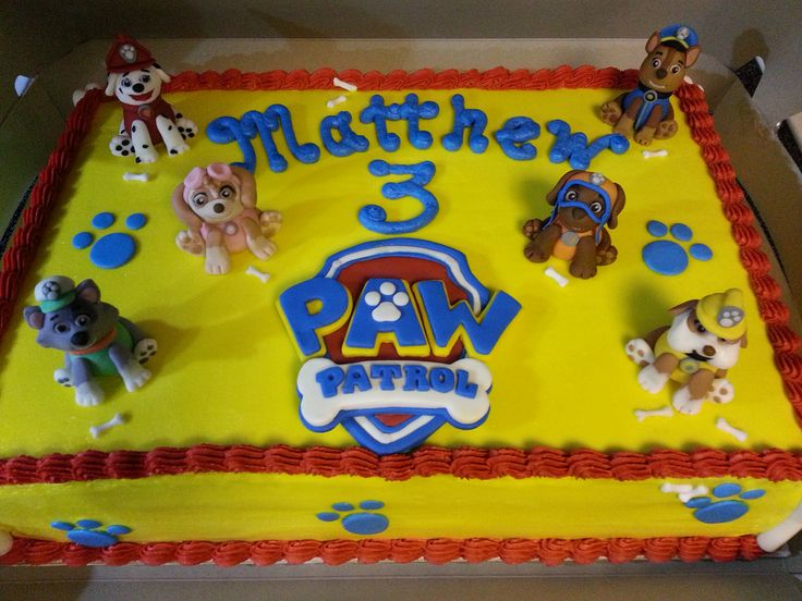 Paw Patrol Cake I made for Sarah's son Matthew.I hand molded all the characters with Fondant.