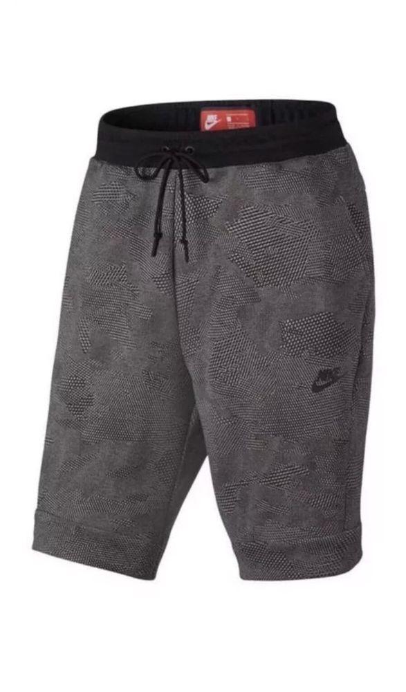 9857a2267601 Nike Tech Fleece Allover Print Mens 832124-091 Carbon Grey Black Shorts  Size 2XL  Nike  Shorts