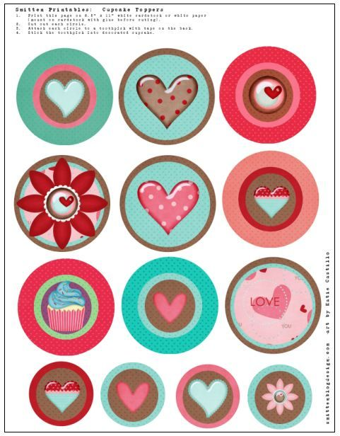 Cute cupcake topper heart images free to use by grinandbakeit.  Click on image to download from original site.